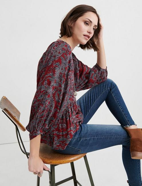 PAISLEY PRINTED PEASANT, RED MULTI