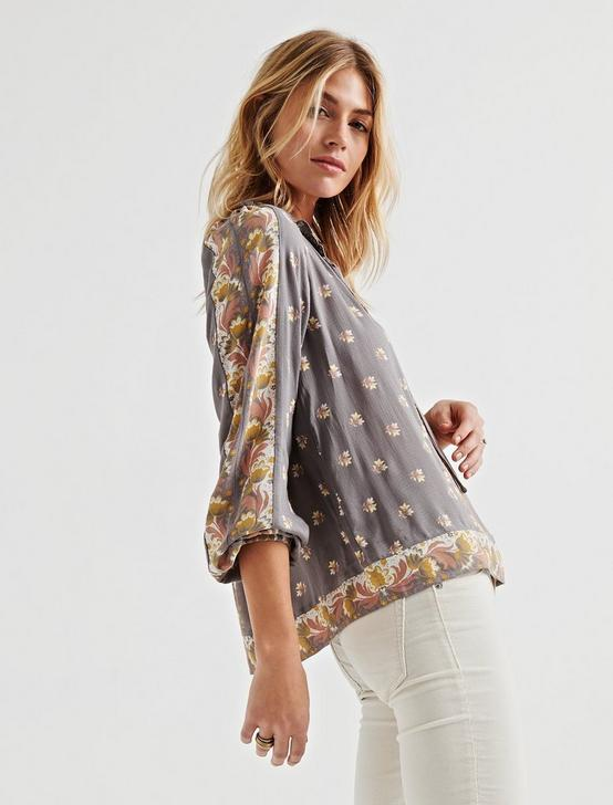 BORDER PRINT TOP, GREY MULTI, productTileDesktop