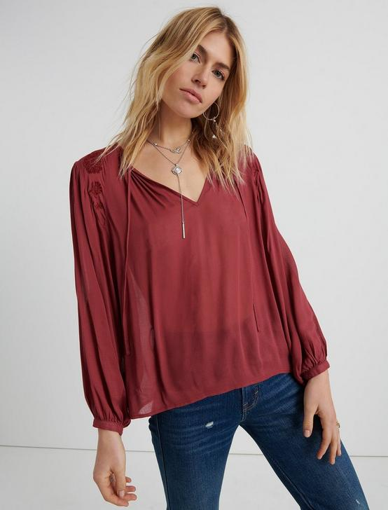 EMBROIDERED PEASANT TOP, MAROON, productTileDesktop