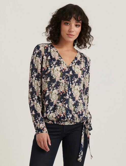 SAWYER WRAP TOP, NAVY MULTI