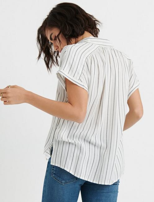 SHORT SLEEVE STRIPE SHIRT, WHITE MULTI