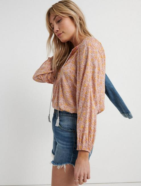 MIXED BORDER PRINT TOP, PINK MULTI