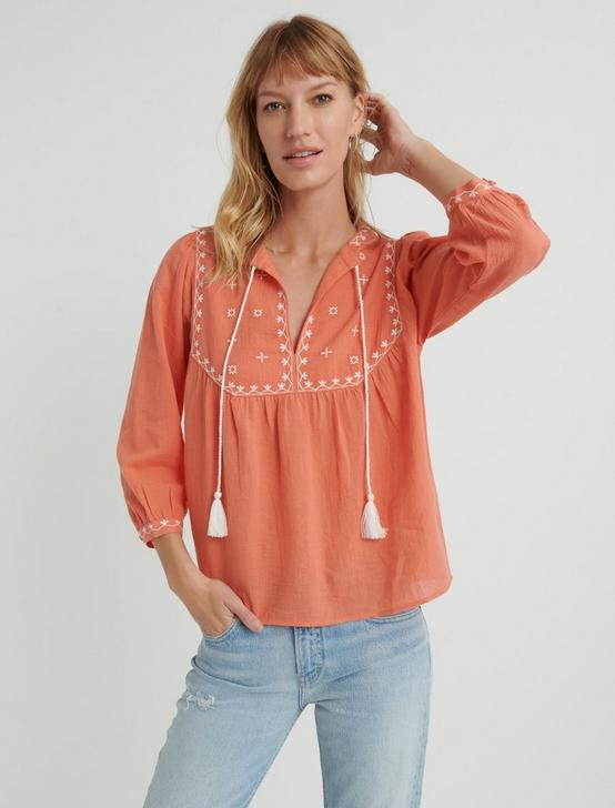 EVELYN EMBROIDERED PEASANT TOP, #8386 PERSIMMON, productTileDesktop