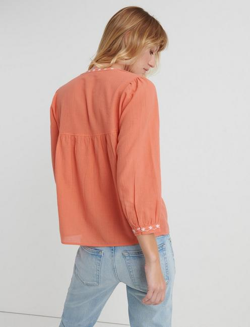 EVELYN EMBROIDERED PEASANT TOP, #8386 PERSIMMON