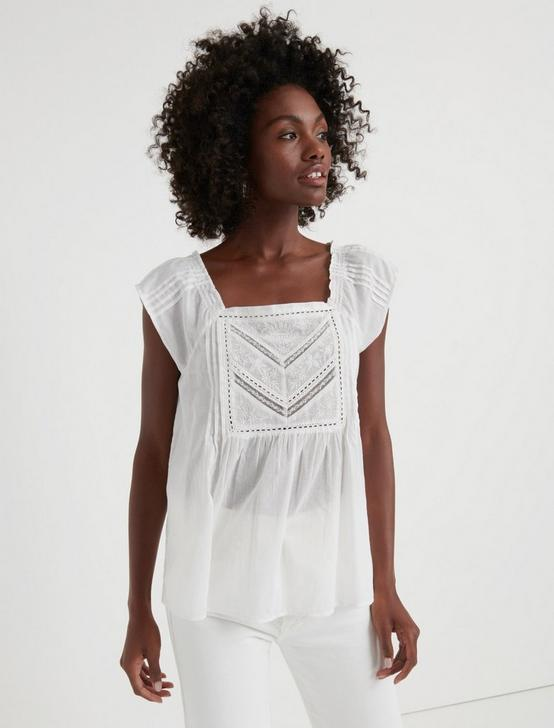 SHARON EMBROIDERED TOP, LUCKY WHITE, productTileDesktop