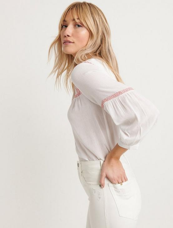 EMBROIDERED TOP, LUCKY WHITE, productTileDesktop