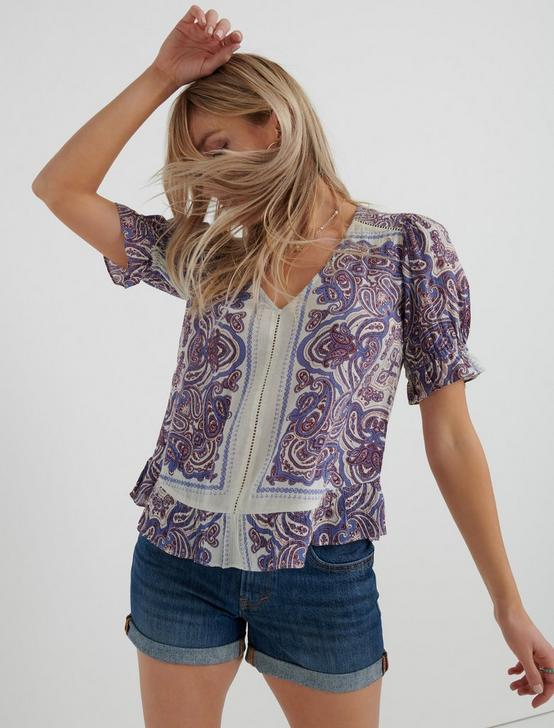 PRINTED MAYA TOP, NATURAL MULTI, productTileDesktop