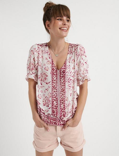 BORDER PRINT MAYA TOP, RED MULTI