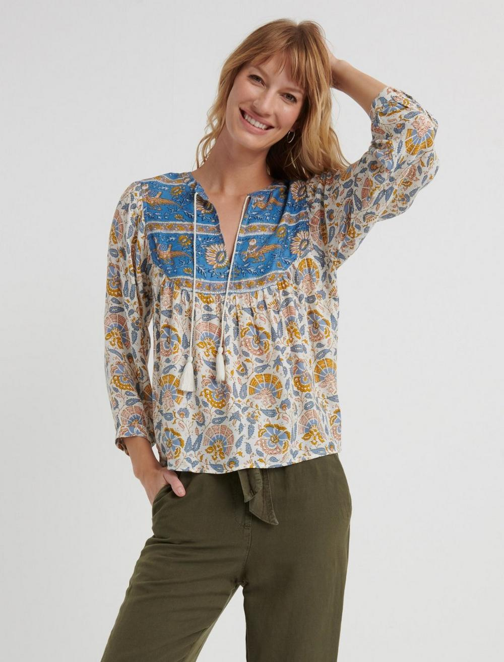 Women's 70s Shirts, Blouses, Hippie Tops Lucky Brand Printed Evelyn Peasant Top Size XS in Blue Multi $26.00 AT vintagedancer.com