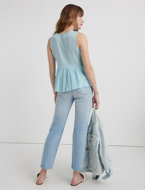 ROBIN EMBROIDERED TANK, CRYSTAL BLUE