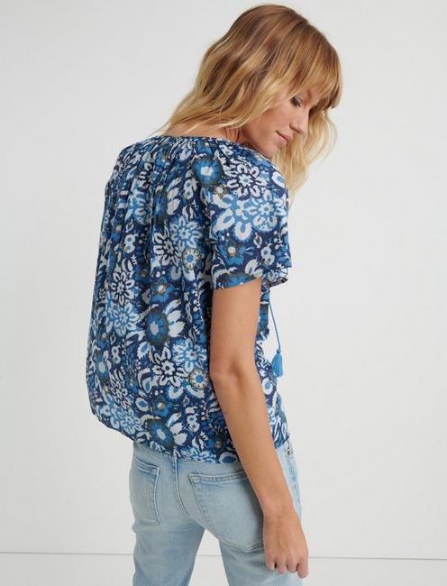 AUDREY PEASANT TOP, BLUE MULTI