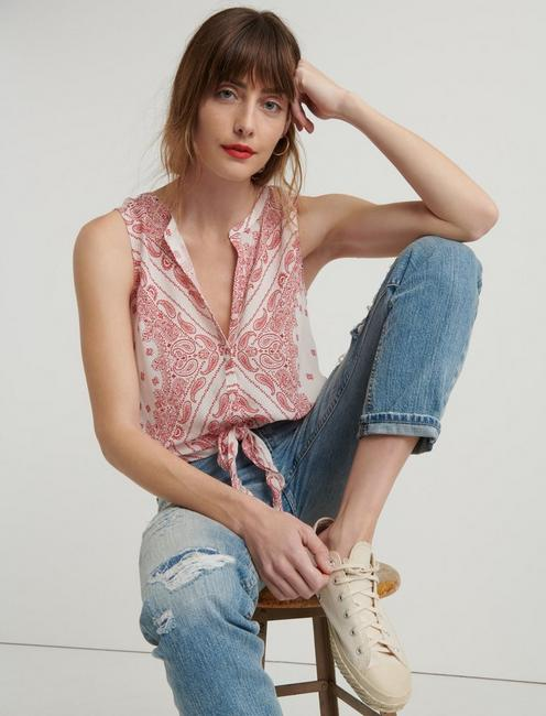 BANDANA TIE FRONT TOP, RED MULTI
