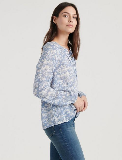 ELOISE PRINTED PEASANT TOP, BLUE MULTI