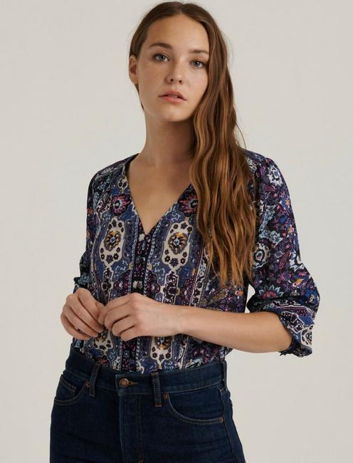 BECCA BUTTON DOWN PEASANT, NAVY MULTI