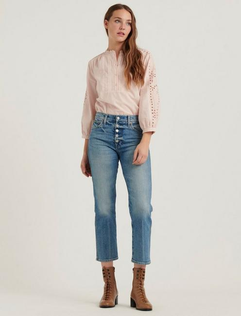 YASMIN EYELET TOP, PEACH WHIP