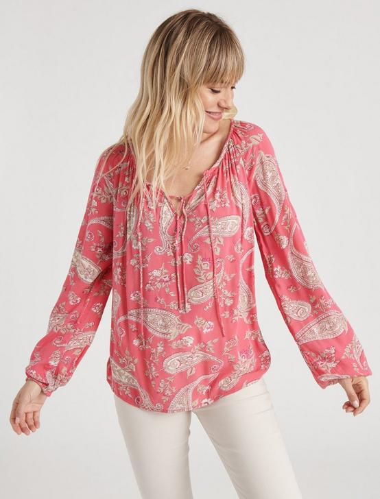 ELOISE PRINTED PEASANT TOP, PINK MULTI, productTileDesktop