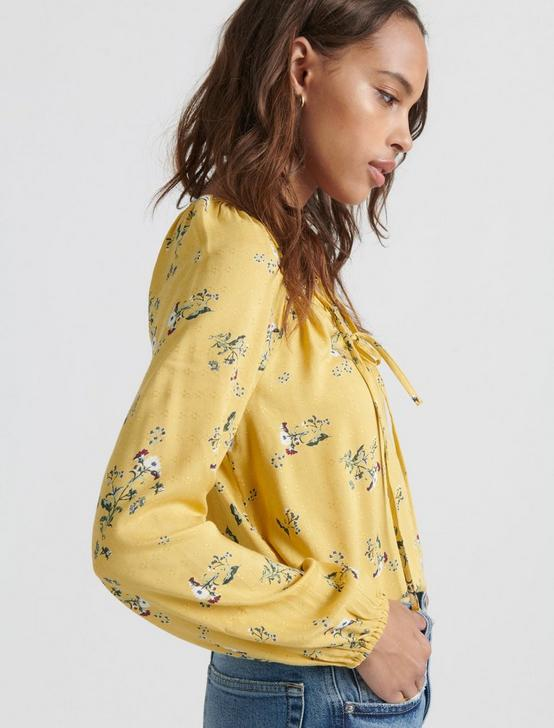 ELOISE PRINTED PEASANT TOP, YELLOW MULTI, productTileDesktop