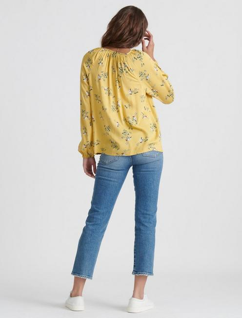 ELOISE PRINTED PEASANT TOP, YELLOW MULTI