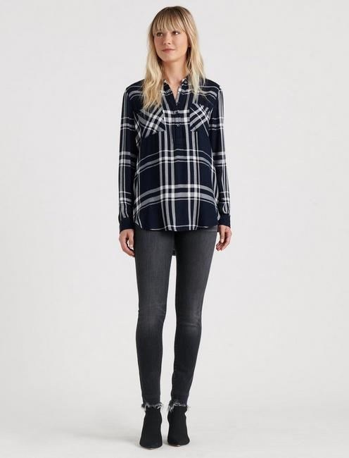 PLAID TUNIC TOP, NAVY MULTI