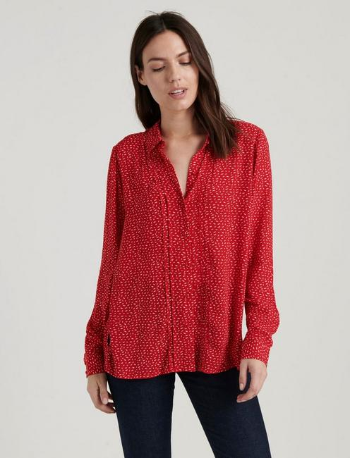 SAM BUTTON DOWN SHIRT, RED MULTI