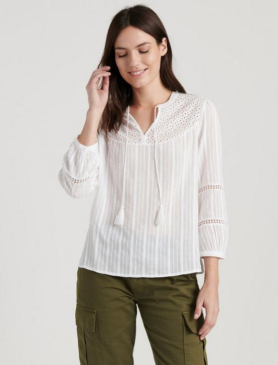 MARLY EYELET PEASANT TOP, LUCKY WHITE, productTileDesktop