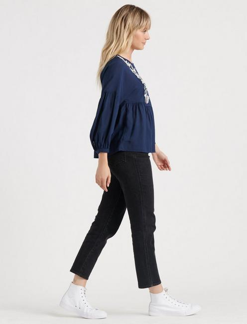 WILLOW EMBROIDERED PEASANT, AMERICAN NAVY