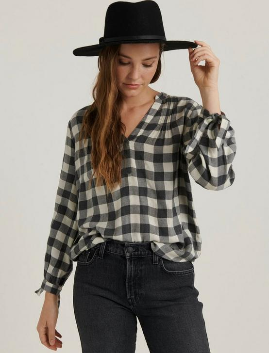 CADY GINGHAM POPOVER SHIRT, NATURAL MULTI, productTileDesktop