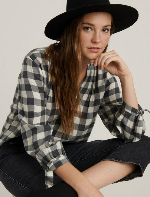 CADY GINGHAM POPOVER SHIRT, NATURAL MULTI