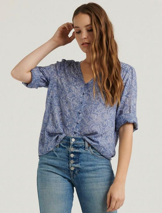 BECCA BUTTON DOWN PEASANT, BLUE MULTI, productTileDesktop
