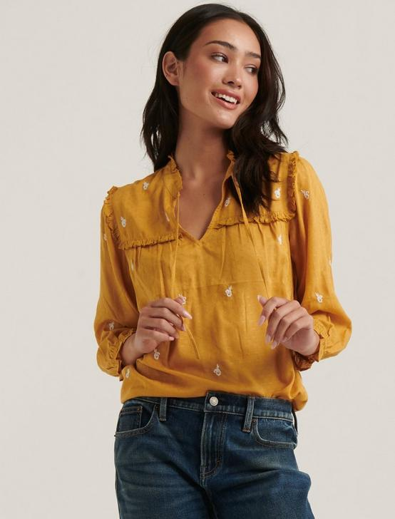 DAISY EMBROIDERED BLOUSE, AMBER GOLD, productTileDesktop