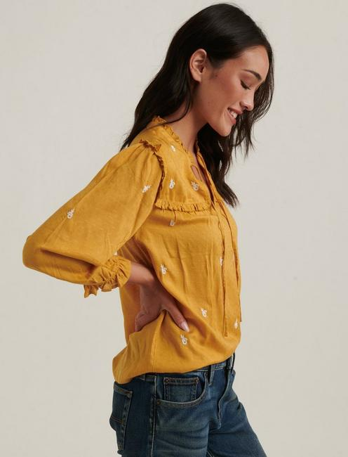 DAISY EMBROIDERED BLOUSE, AMBER GOLD