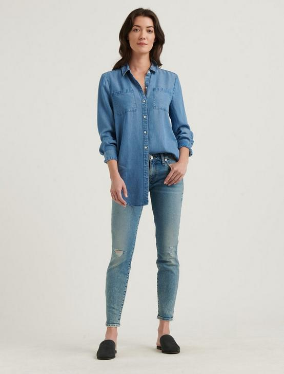 NOA TUNIC SHIRT, MEDIUM WASH, productTileDesktop