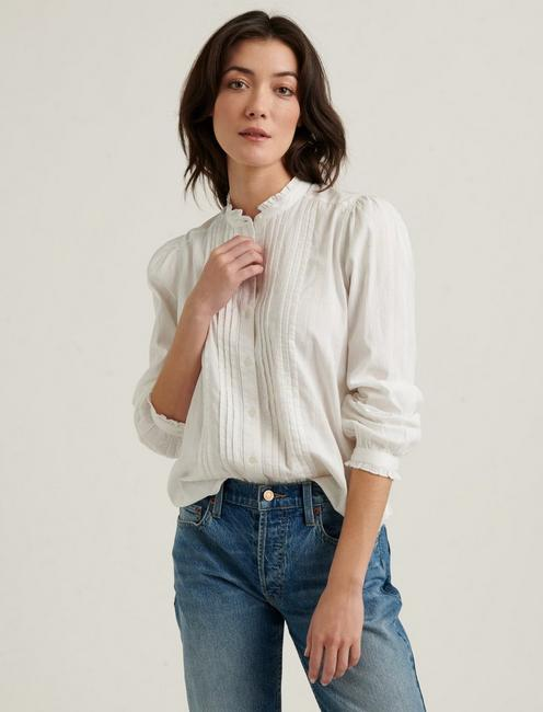 CLAUDINE PINTUCK SHIRT, LUCKY WHITE