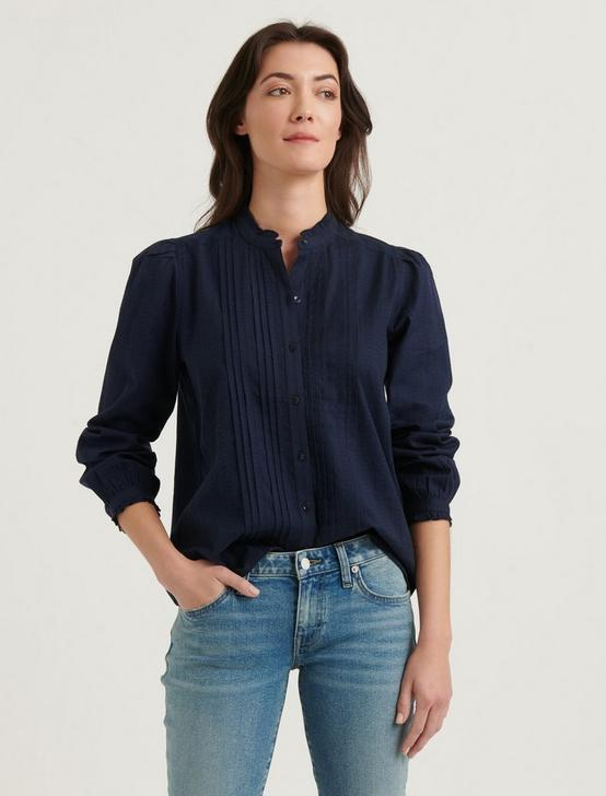 CLAUDINE PINTUCK SHIRT, AMERICAN NAVY, productTileDesktop