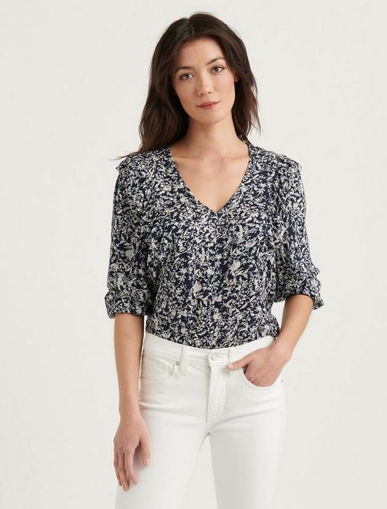 TAYLOR RUFFLE PEASANT TOP, NAVY MULTI, productTileDesktop