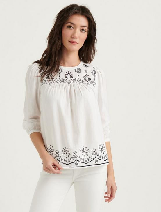 IVY EMBROIDERED BLOUSE, LUCKY WHITE, productTileDesktop
