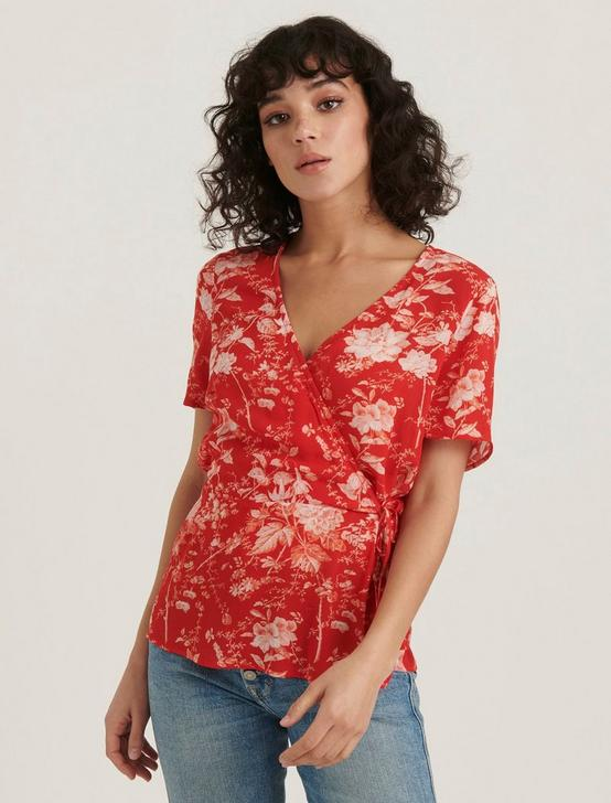 PRINTED BILLIE WRAP TOP, RED MULTI, productTileDesktop