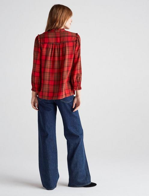 DAISY PLAID BLOUSE, RED MULTI