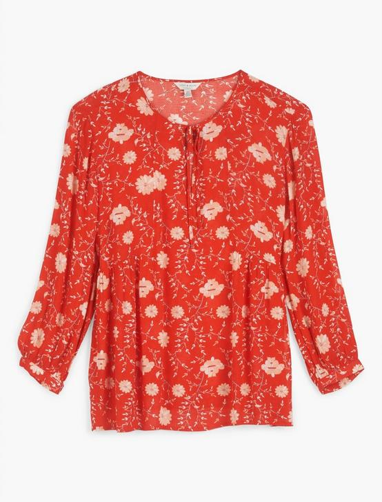PRINTED SERENA PEASANT TOP, RED MULTI, productTileDesktop