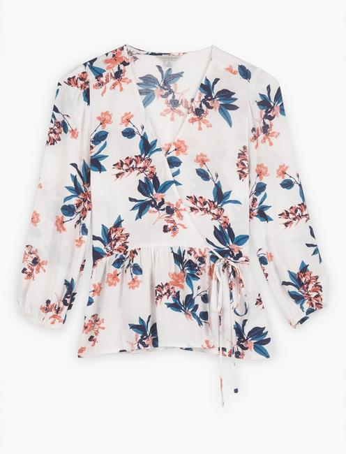 FLORAL PRINTED CHARLIE WRAP TOP, NATURAL MULTI