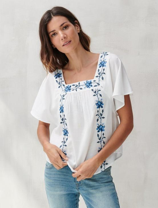 EMBROIDERED ADA SQUARE NECK TOP, WHITE MULTI, productTileDesktop
