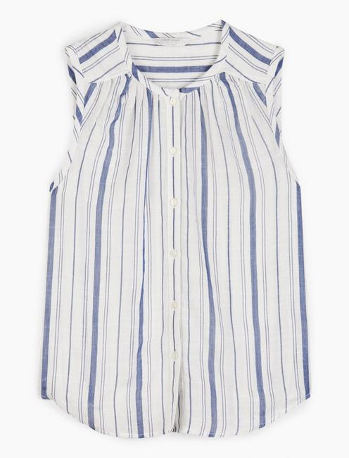 SLEEVELESS STRIPED JULIA SHIRT, NAVY STRIPE