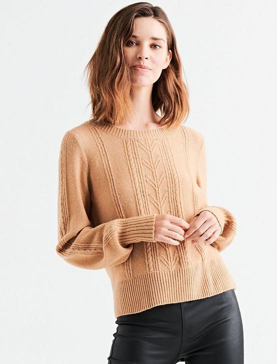 CABLE STITCH PULLOVER, CAMEL, productTileDesktop