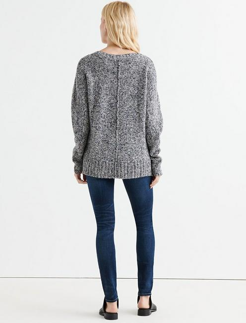 MARL V NECK PULLOVER, BLUE MULTI
