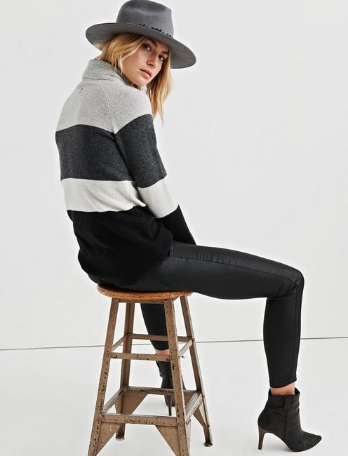 STRIPE OVERSIZED TURTLENECK, BLACK MULTI