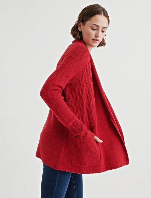 TEXTURE STITCH CARDIGAN, RIO RED