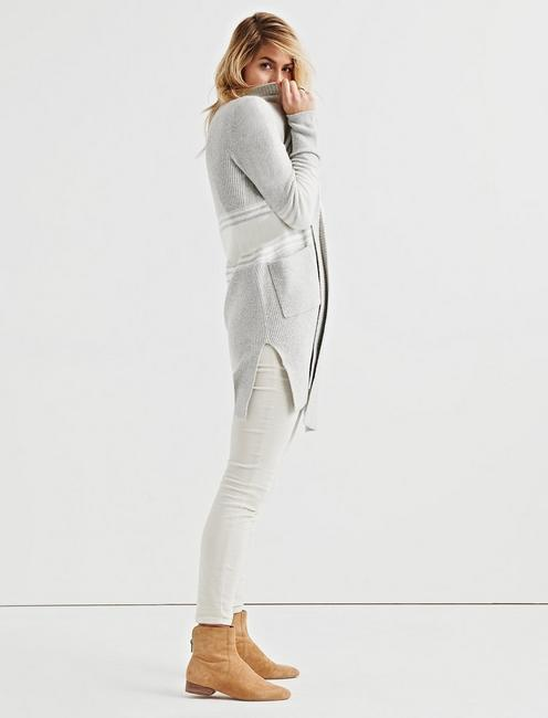 STRIPE LONG CARDIGAN, GREY MULTI