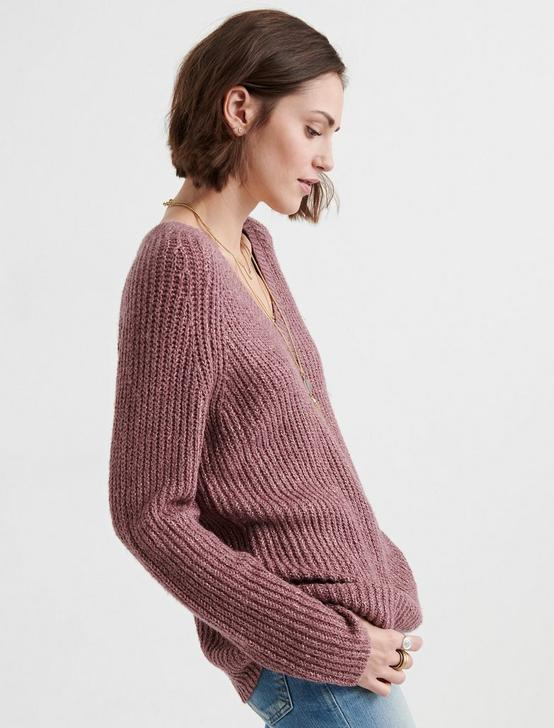 V NECK TUNIC SWEATER, ROSE TAUPE, productTileDesktop