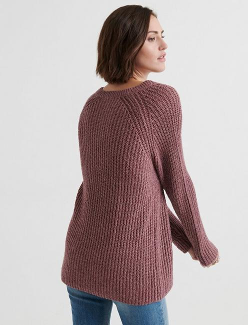 V NECK TUNIC SWEATER, ROSE TAUPE