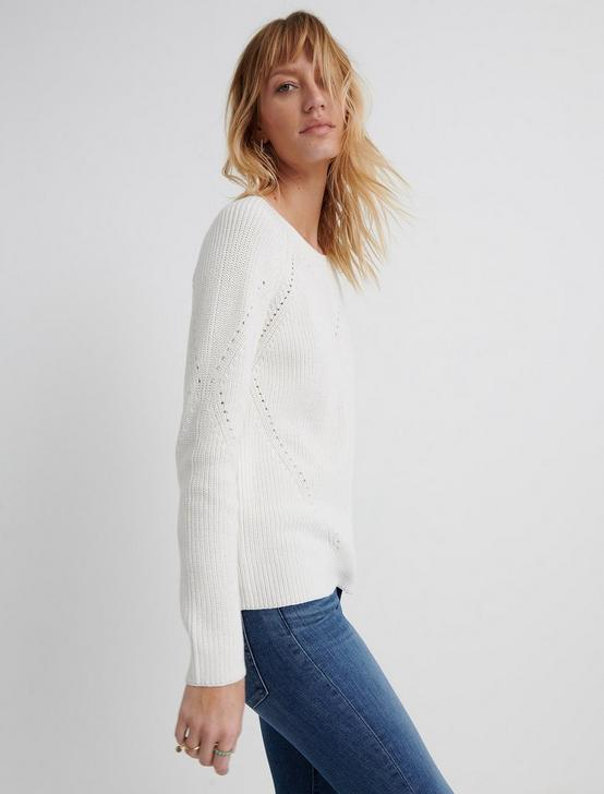 CREW NECK POINTELLE SWEATER, 280 CREAM, productTileDesktop